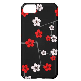 Impresión negra y roja de la flor de cerezo