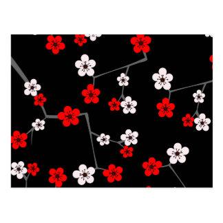Impresión negra y roja de la flor de cerezo postales
