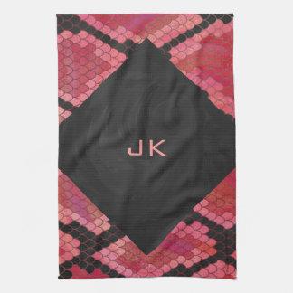 Impresión negra y roja de la serpiente toallas