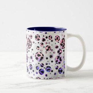 Impresión negra y rosada dálmata tazas de café