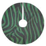 Impresión negra y verde de la cebra falda de árbol de navidad de poliéster