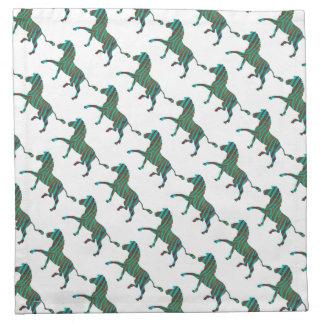 Impresión negra y verde de la cebra servilletas imprimidas