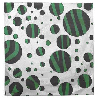 Impresión negra y verde de la cebra servilletas de papel