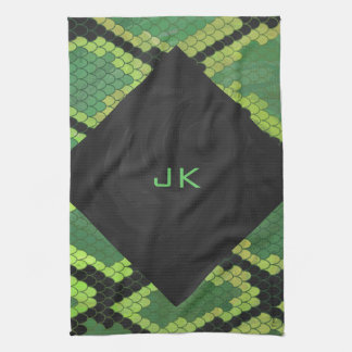 Impresión negra y verde de la serpiente toalla de cocina