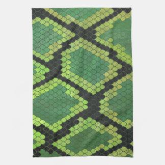 Impresión negra y verde de la serpiente toalla