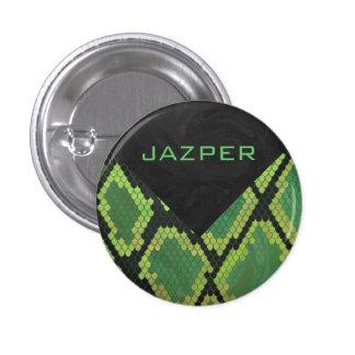 Impresión negra y verde de la serpiente pin redondo 2,5 cm