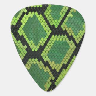 Impresión negra y verde de la serpiente plumilla de guitarra