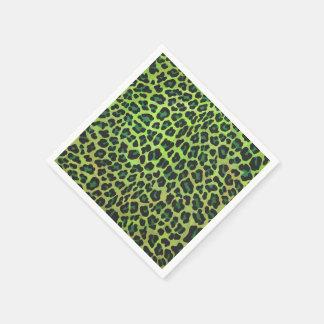 Impresión negra y verde del leopardo servilletas de papel