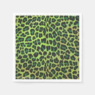 Impresión negra y verde del leopardo servilletas desechables
