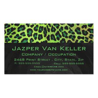 Impresión negra y verde del leopardo tarjeta de negocio