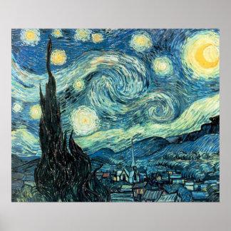 Impresión - noche estrellada póster