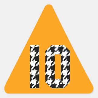 Impresión número 10 de Houndstooth Pegatina Triangular
