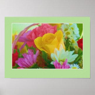 Impresión o poster color de rosa del ramo