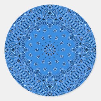 Impresión occidental azul de la bufanda del pegatina redonda