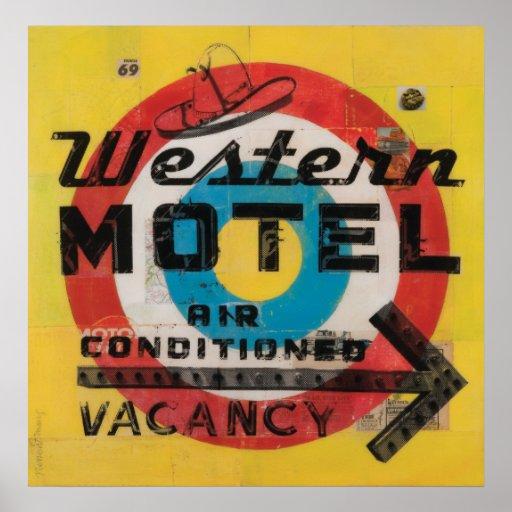 Impresión occidental de la blanco del motel póster