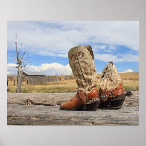 Impresión occidental de la bota de vaquero póster
