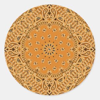 Impresión occidental de la bufanda del pañuelo de pegatina redonda