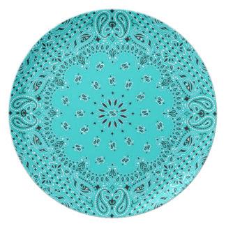 Impresión occidental de la bufanda del pañuelo de platos