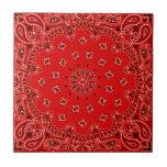 Impresión occidental roja de la bufanda del pañuel azulejo cuadrado pequeño