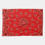 Impresión occidental roja de la bufanda del pañuel toalla de mano
