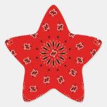 Impresión occidental roja de la bufanda del pañuel pegatina forma de estrella