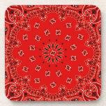 Impresión occidental roja de la bufanda del pañuel posavasos de bebida
