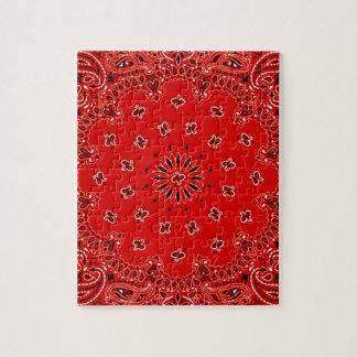 Impresión occidental roja de la bufanda del pañuel rompecabeza con fotos