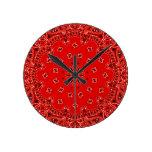 Impresión occidental roja de la bufanda del pañuel reloj