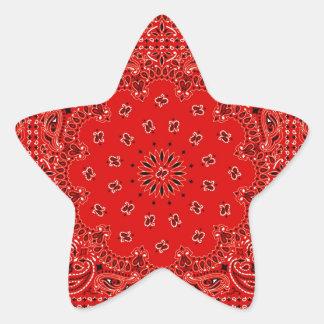 Impresión occidental roja de la bufanda del pegatina en forma de estrella