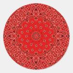 Impresión occidental roja de la bufanda del pegatina redonda