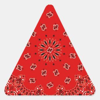 Impresión occidental roja de la bufanda del pegatina triangular