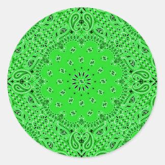 Impresión occidental verde de la bufanda del pegatina redonda