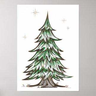 Impresión oriental del arte del pino poster