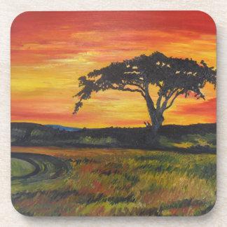 Impresión original del arte del árbol solo posavasos