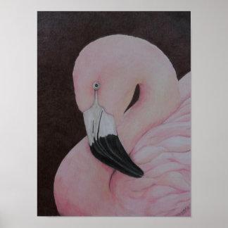 Impresión original del arte del pájaro del flamenc póster