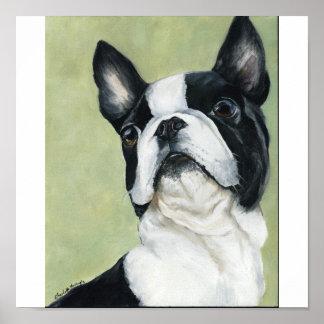 Impresión original del arte del perro de Boston Te Póster