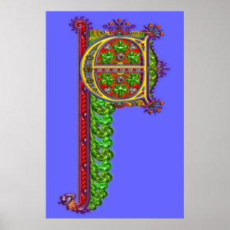 Impresión ornamental de la letra C Cenicienta Póster