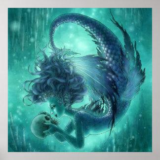 Impresión oscura de la sirena - besos del secreto póster