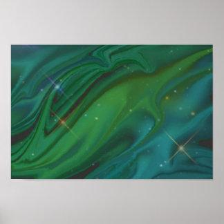 Impresión oscura de las estrellas del agua poster