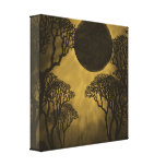 Impresión oscura de oro de la lona del eclipse del impresion de lienzo