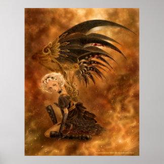 Impresión oscura del ángel de Steampunk Póster