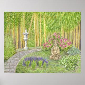 Impresión pacífica del arte del jardín de Buda Póster