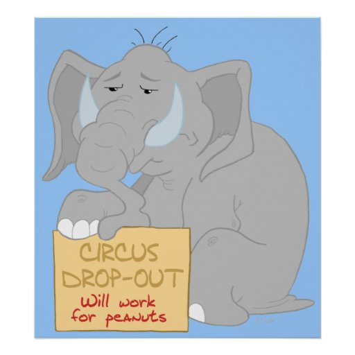 Impresión parada del poster del elefante del circo