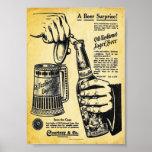 Impresión pasada de moda de la cerveza de cerveza impresiones