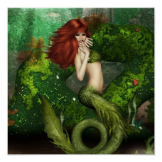 Impresión pelirroja de la sirena póster
