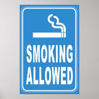 Impresión permitida que fuma póster
