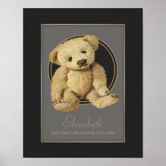Impresión personalizada del oso de peluche del vin poster