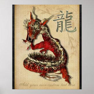 Impresión personalizada dragón rojo chino posters