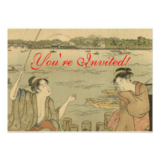 Impresión pesquera japonesa de Woodblock del vinta Invitaciones Personales
