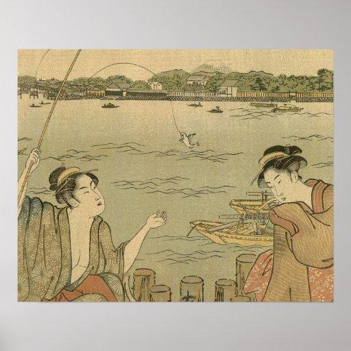 Impresión pesquera japonesa de Woodblock del vinta Póster
